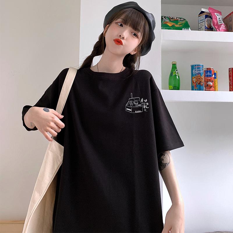 中國代購|中國批發-ibuy99|女裝|6535棉 日系复古潮牌t恤女短袖2021夏季新款宽松bf风学生女装上衣