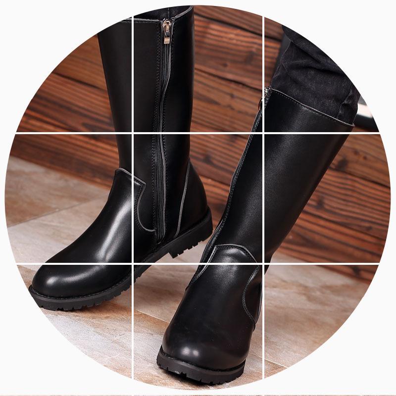 春秋新款内增高男靴子高筒骑马靴军靴男皮靴仪仗队潮流拉链长靴