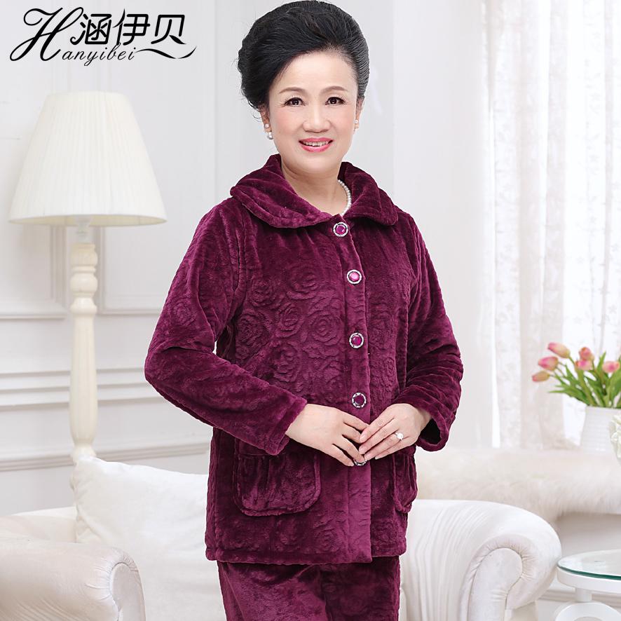 中老年人睡衣女秋冬珊瑚绒睡衣中老年保暖法兰绒睡衣冬季套装大码