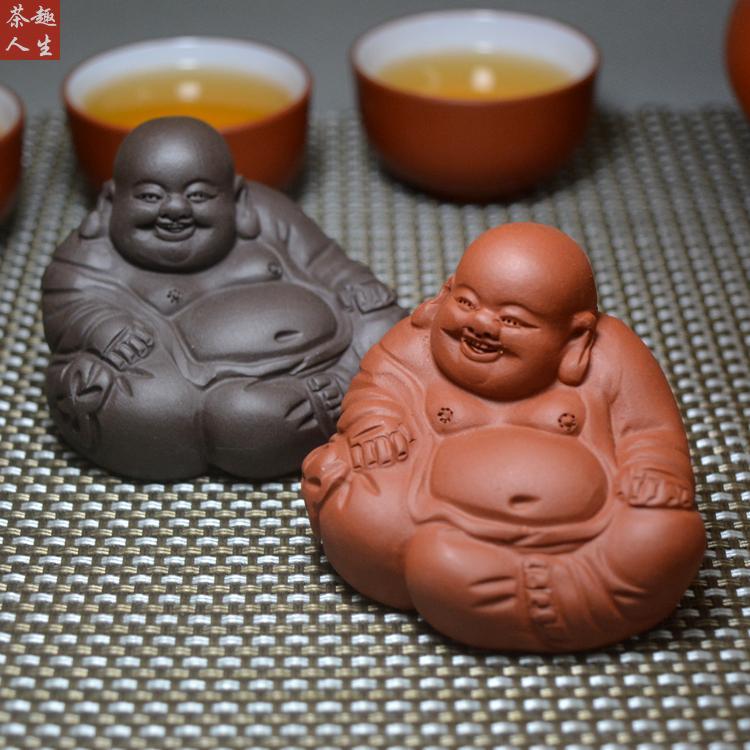 紫砂茶宠笑佛小沙弥佛像保佑坐像车载茶盘摆件茶玩迷你可爱猪生肖