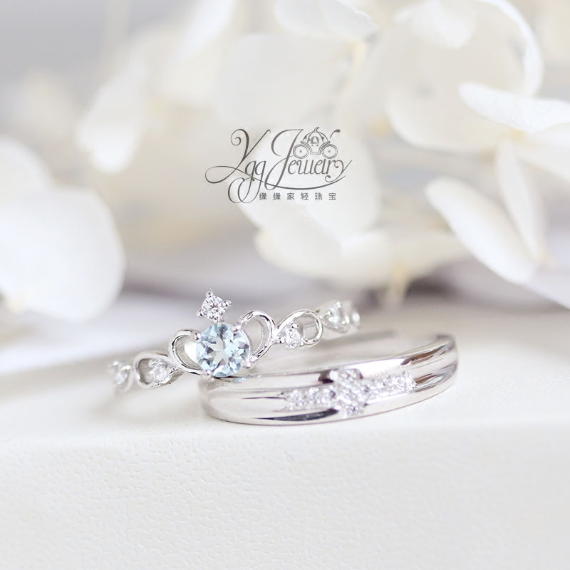 The princess loves honey. Natural Brazilian Aquamarine crown ring a pair of S925 Sterling Silver Rings Moonstone lovers