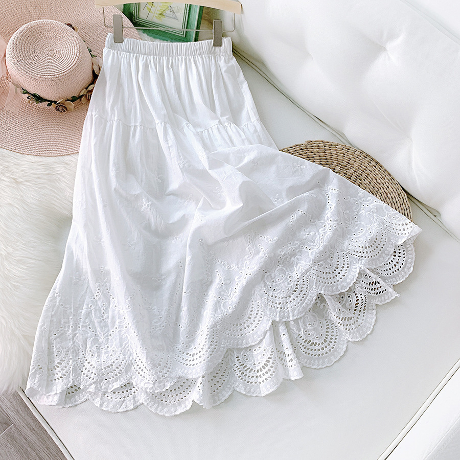 Japanese and Korean Arts hollow embroidery skirt childrens relaxed and lazy style cotton medium length leisure skirt white lace