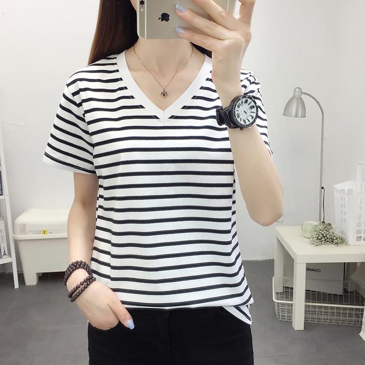 韩版大码宽松纯棉短袖t恤女装2020年夏季新款半袖V领条纹t桖上衣
