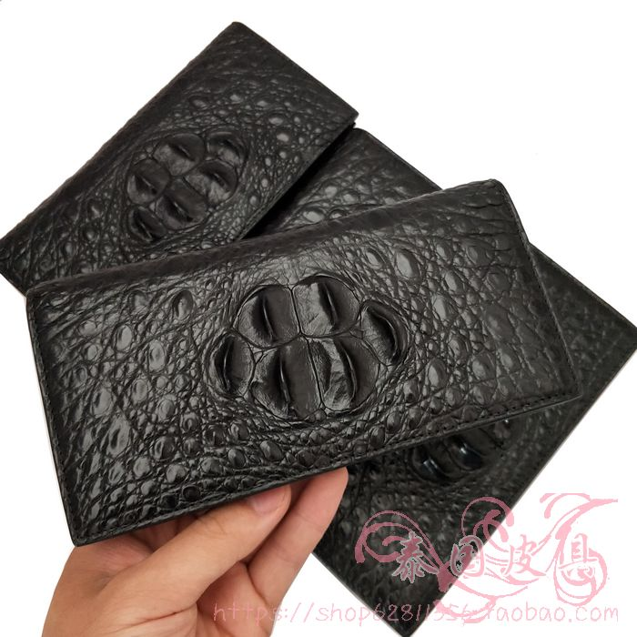 Crocodile leather wallet mens long genuine leather business fashion wallet multifunctional ultra-thin simple mens wallet