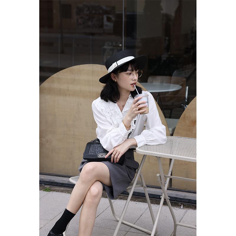 叙旧oldtimes【罗马假日】少女感木耳边衬衫 法式电影女主角C1755