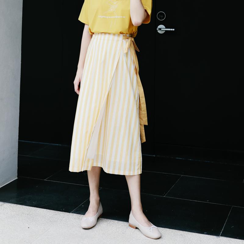 叙旧夏日小清新两色条纹系带修身显瘦半身长裙\垦丁天气晴\Q5964