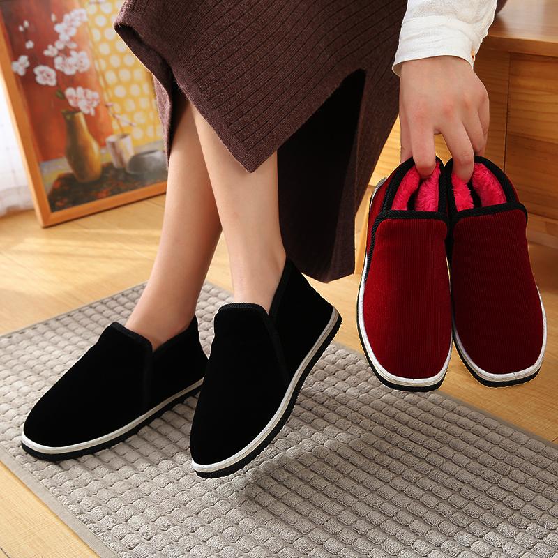 手工制棉布鞋男女冬季加绒加厚保暖防滑耐磨轮胎底居家室内外布鞋