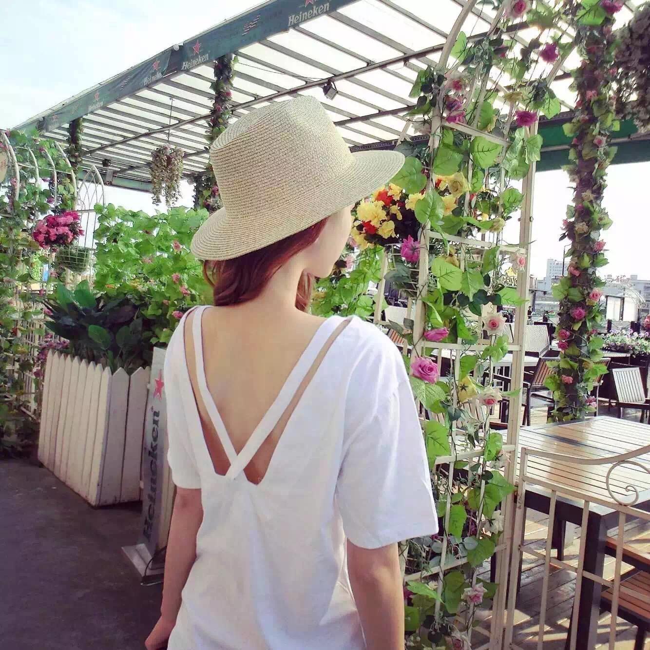 夏季性感露背背心纯色长款宽松t恤
