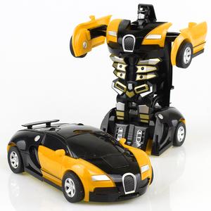 变形玩具金刚5 儿童男孩大黄蜂一键惯性撞击PK汽车机器人非遥控