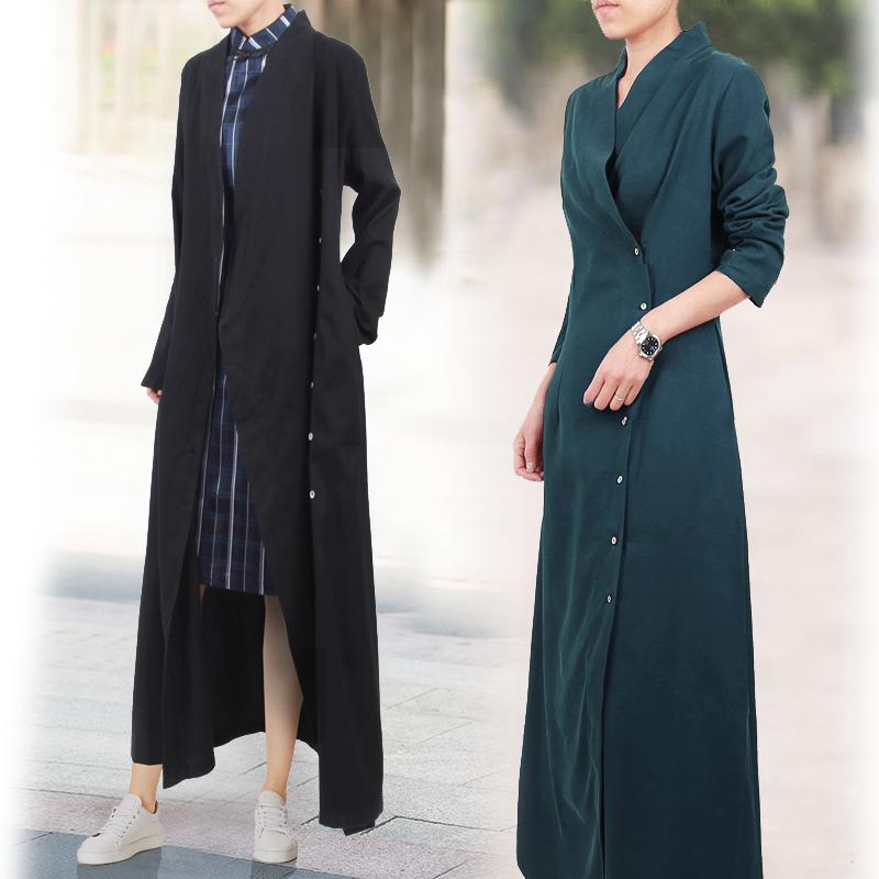 新款真丝绢纺连衣裙 文艺复古桑蚕丝单排扣长袖长裙子纯色连身裙