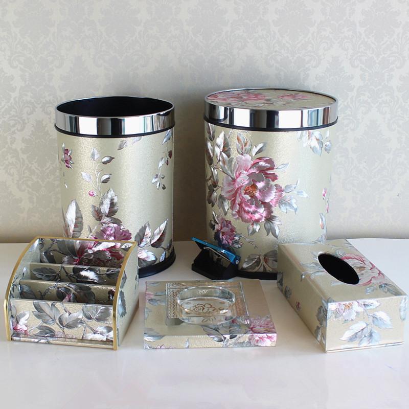 银色花欧式家用时尚创意厨房垃圾桶