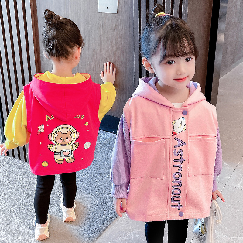 Young childrens new sports leisure autumn clothes baby girl cartoon pattern contrast long sleeve coat childrens Hoodie