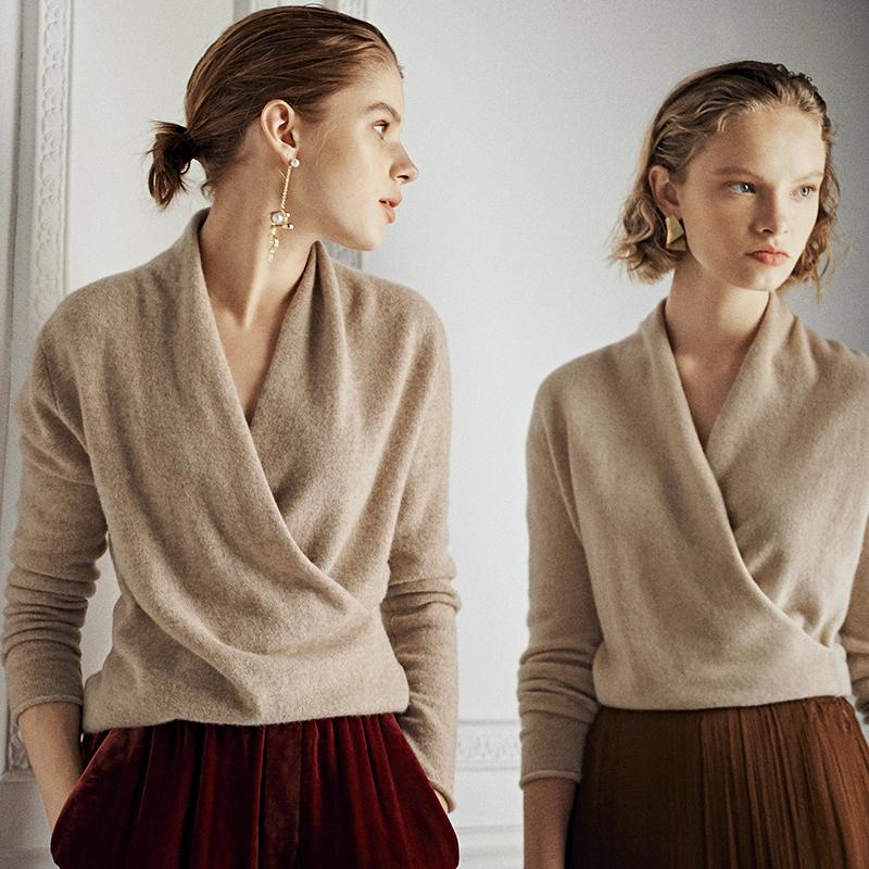 MZ0943D领可贴身原色牦牛绒毛衫V法式交叉优雅入髓风家窄众