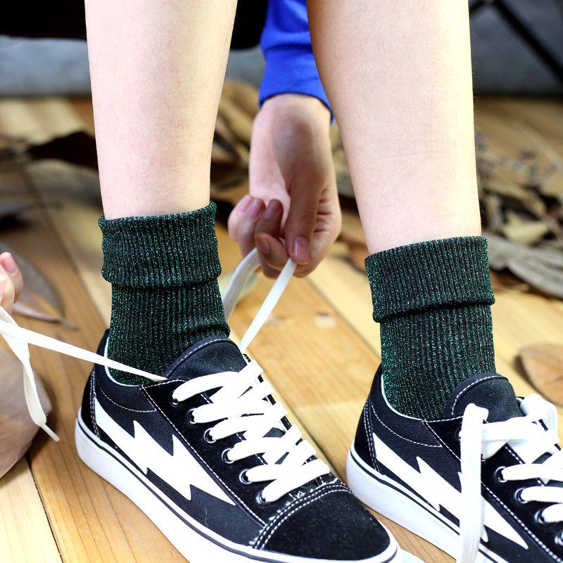 券后7.90元春秋女袜珠光堆堆袜中筒纯棉夏复古韩国金银丝袜子亮丝银葱推推袜