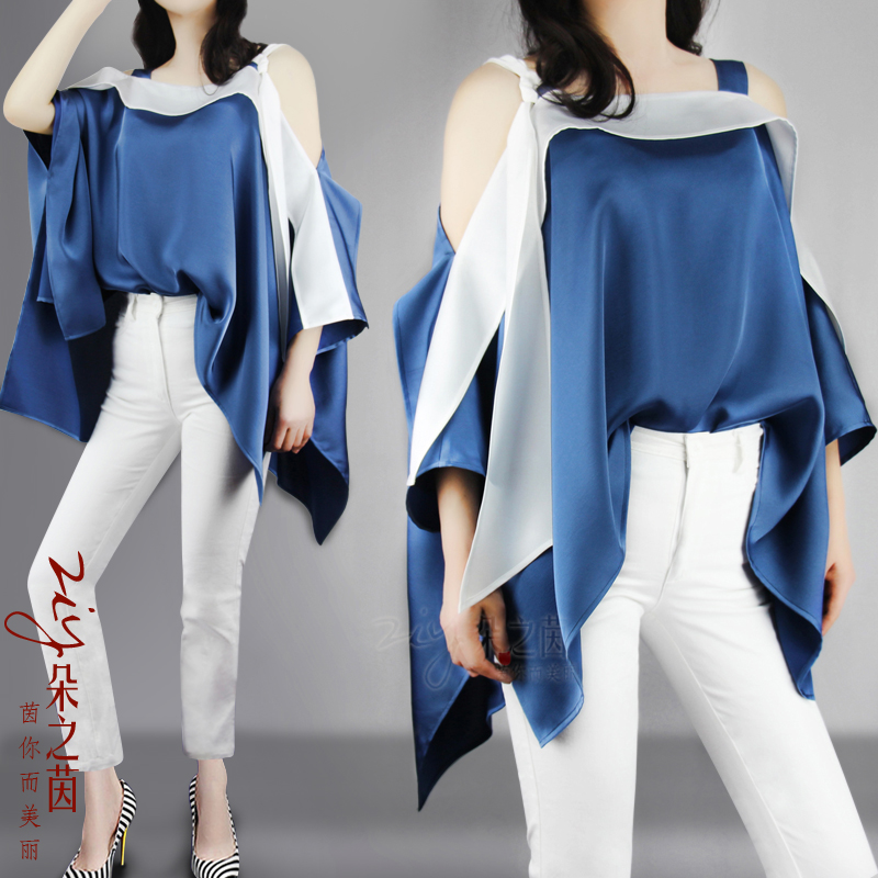 Irregular Cape style off shoulder halter top womens 2021 summer new loose and thin ribbon top
