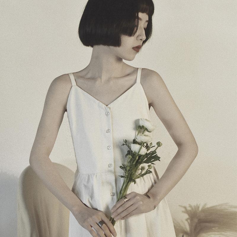 然而和风原创设计日系吊带连衣裙