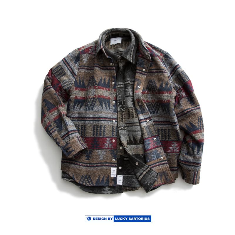 19 A/W羊毛咔叽复古日系民族风衬衫加厚保暖衬衣工装夹克外套男潮
