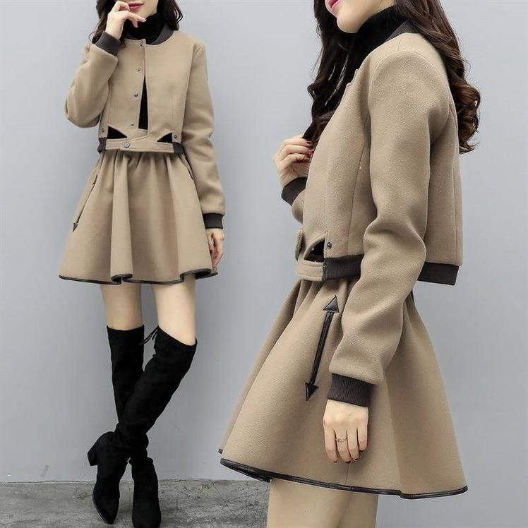 2019新款女装秋冬两件套裙毛呢外套短款短裙套裙休闲时尚套装女潮