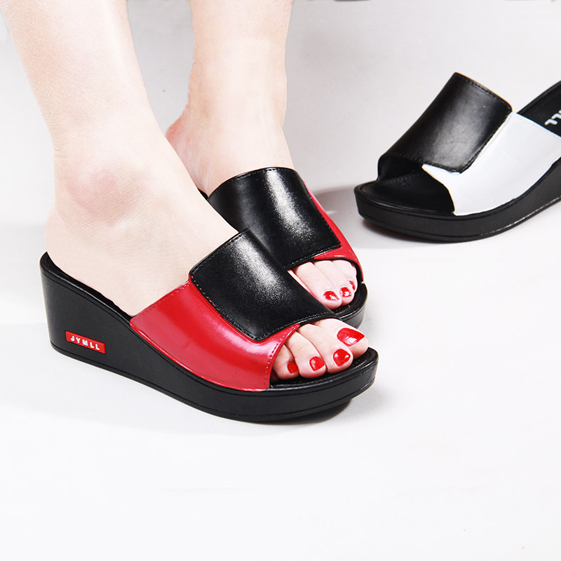 New summer slope heel wear antiskid cool slippers womens high heel fish mouth hollow thick bottom fashion versatile one word home
