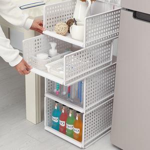 KABAMURA橱柜可叠加收纳箱抽屉式塑料分层收纳筐组合式桌面文件架