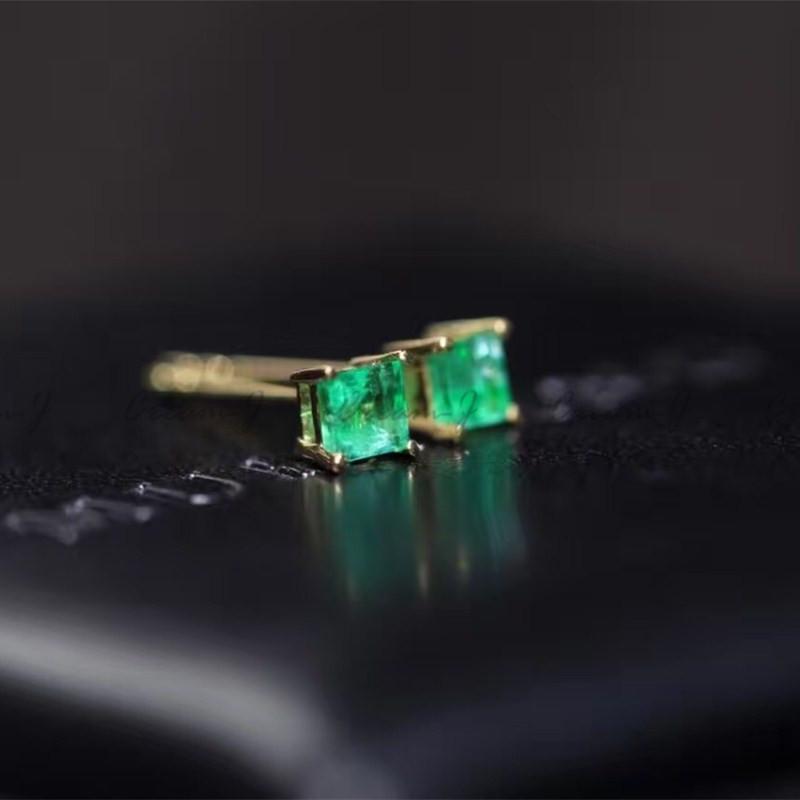 Cream-J 18K金天然祖母绿红蓝宝石3mm小方糖耳钉极简百搭通勤包
