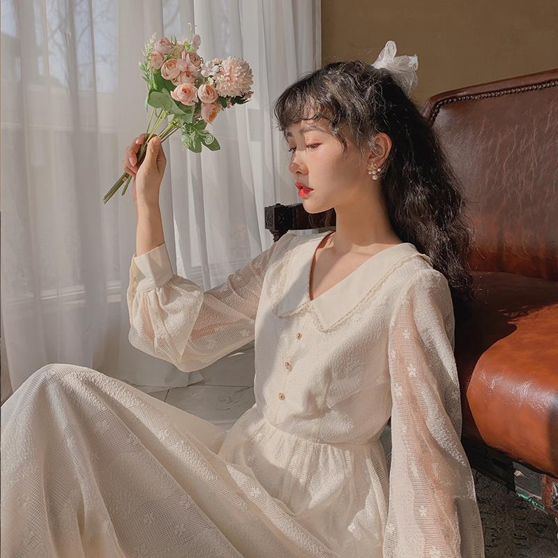 梅子熟了法式甜美超仙翻领裙子蕾丝连衣裙初恋裙春装2020年新款女