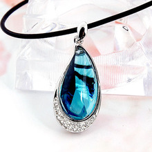 Austria blue crystal pendant big drop collarbone s925 pure silver chain necklace female pendant accessories contracted han edition