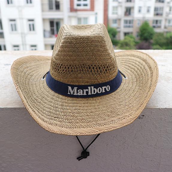 纯天然草编织防晒帽钓鱼帽卷边遮阳帽出游男士户外登山帽旅游沙滩
