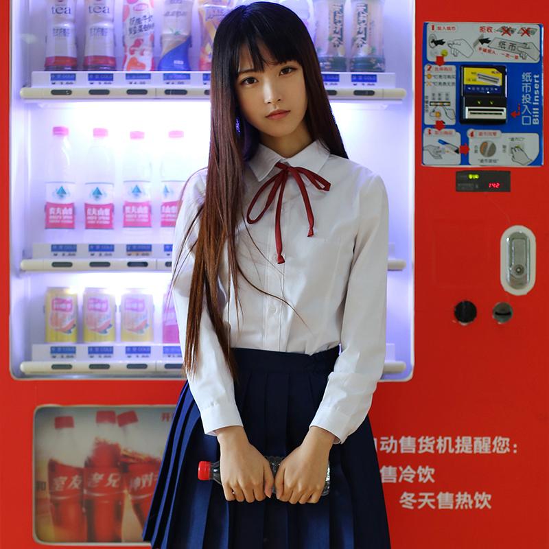 Japan JK School Student Women Long Sleeves Sailor Uniform Dress cosplay outfit