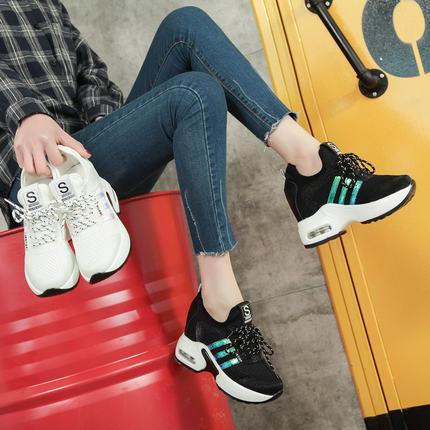 松糕鞋春季女2018新款百搭韩版坡跟小白鞋内增高休闲鞋女透气网面