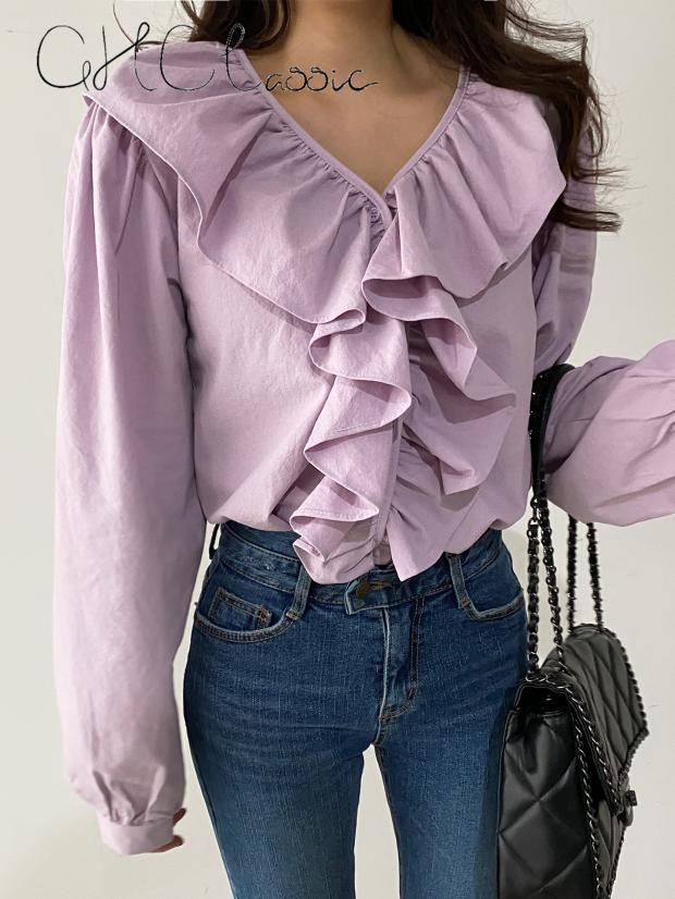Ghclastic South Koreas new 2020 spring Ruffle V-neck womens Shirt Top