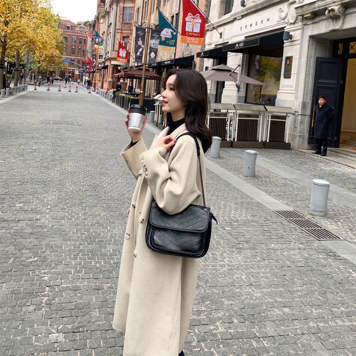 【反季特价】原349 韩国小姐姐毛呢大衣女中长款韩版气质呢子外套