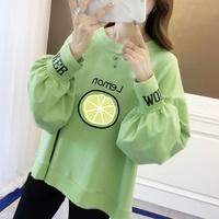 长袖T恤女学生韩版宽松潮流圆领2020新款牛油果绿卫衣女春季上衣