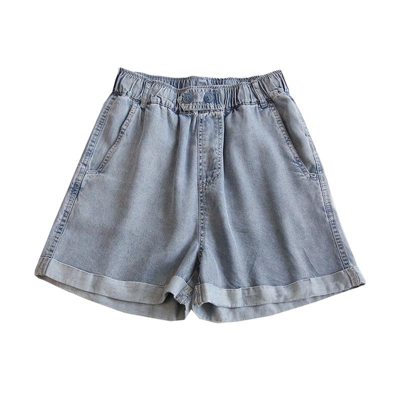 薄款丝滑~天丝牛仔阔腿短裤