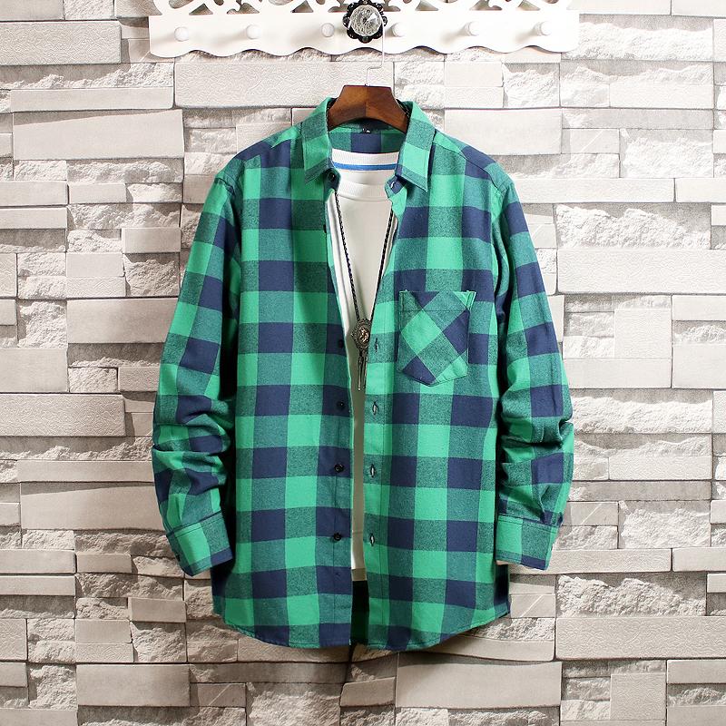 20新款日系砖墙挂拍男青年大码纯棉长袖格子衬衫C825P45控价65