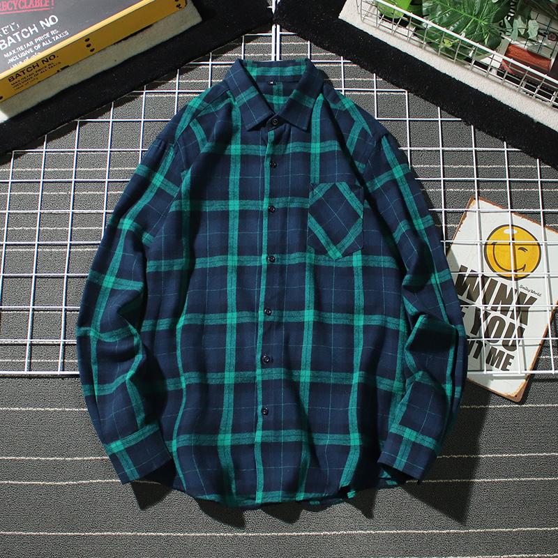 20新款日系网格平铺男青年纯棉大码长袖格子衬衫C825P45控价68