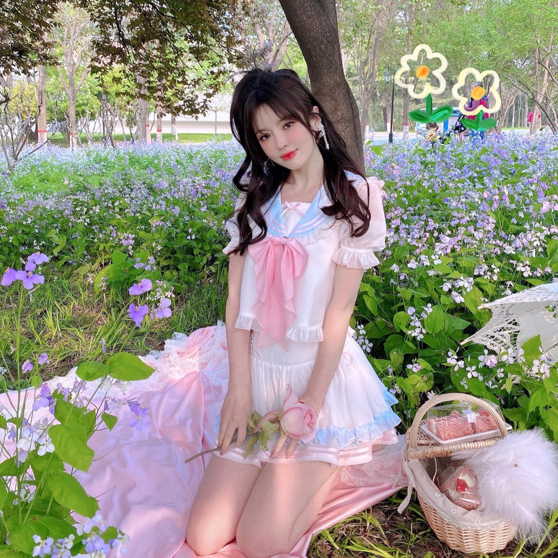 タオバオ仕入れ代行-ibuy99|短裙|伴夏 萌妹出击海军领兔耳朵短裙套装 甜美可爱兔子分开选择更自由