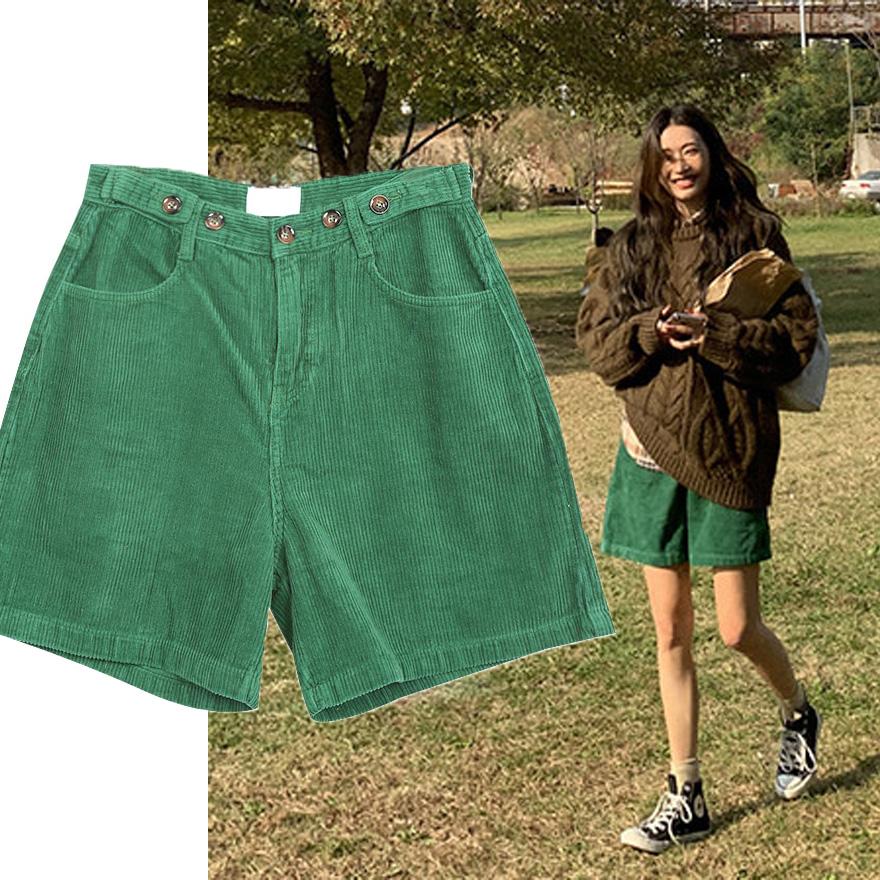 韩国代购春季新款洋气复古绿色灯芯绒短裤宽松直筒裤子