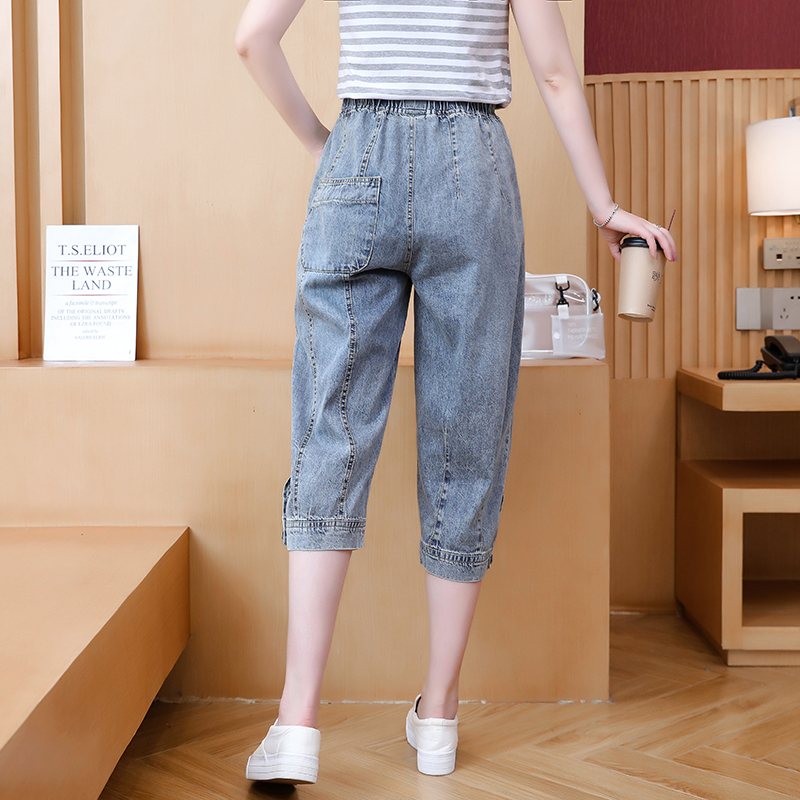 2021 new fashion suit five point jeans womens summer thin loose high waist Korean casual two-piece set fashion