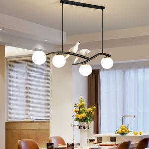 餐厅吊灯北欧风格简约现代饭厅灯创意小鸟书房灯吧台网红大厅灯饰