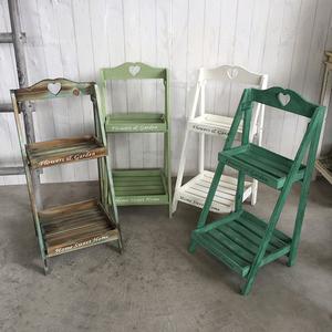 美式乡村复古实木花架几阶梯落地式多层方形置物架子阳台花台美式图片