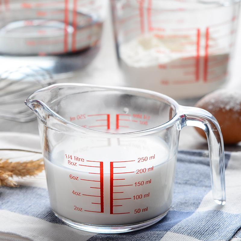 钢化玻璃量杯家用微波炉牛奶杯500ml带刻度烤箱用烘焙杯子1000ml