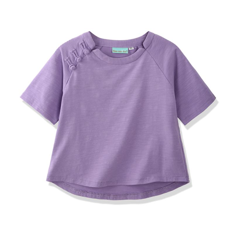 雅童小鋪 淺紫色女童95棉花苞扣 短袖上衣 2016夏 百搭T恤
