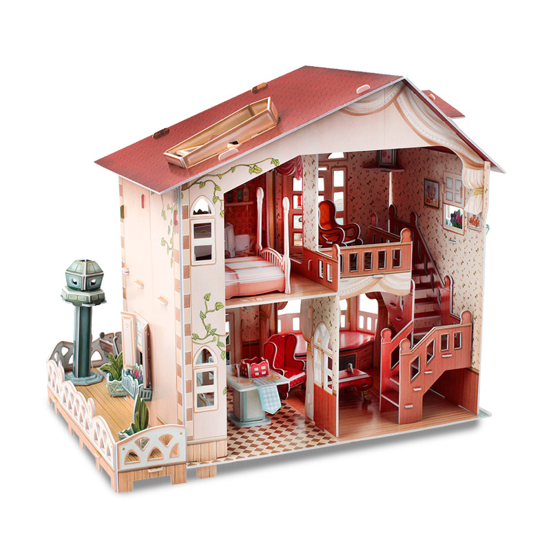 Le Cube 3d stereo puzzle girl diy hand-stitched toys Villa Cottage House Castle model