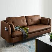 北欧田园风小户型客厅轻奢皮沙发简约现代日式小型两座双二三人位