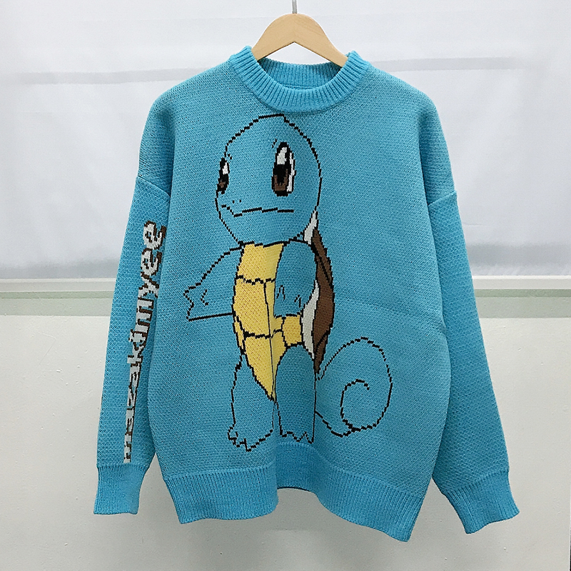 Cartoon lovers sweater loose Korean animal pattern autumn and winter Pullover Sweater peacock blue mens class clothes trend
