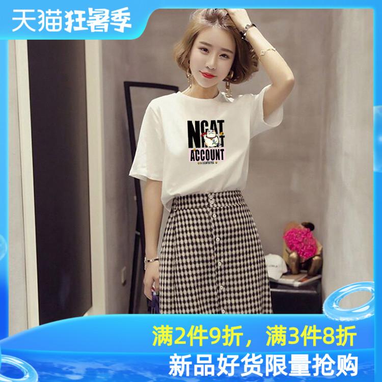 2020夏季新款韩版休闲女装卡通印花短袖t恤宽松圆领大码打底上衣