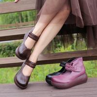 春秋女鞋真皮松糕英伦厚底女靴坡跟单靴复古坡跟小短靴厚底裸靴子