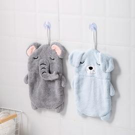 居家家吸盘擦手巾挂式卡通萌宠造型手帕吸水不掉毛儿童擦手小毛巾