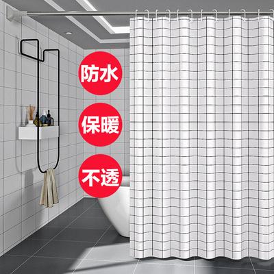 居家家卫生间免打孔浴帘套装加厚防霉拉帘淋浴防水隔断帘浴室门帘